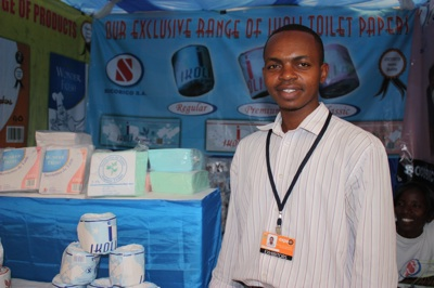 Aimabre Musaneza is one of the Rwandan sellers. His company, Socobico, sells paper products like tissue, serviettes and toilet paper.